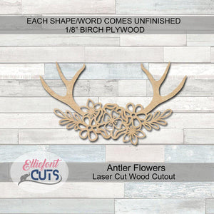 Antler Flowers Wood Cutouts - Elliefont Styles