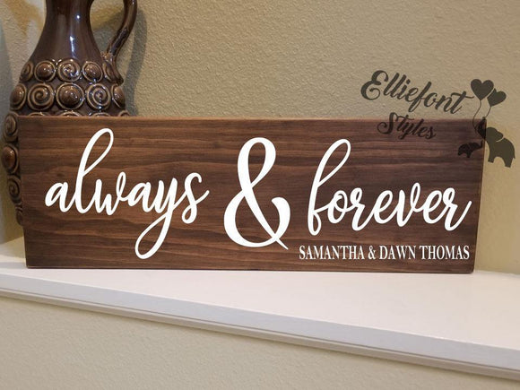 Always & Forever Personalized Wood Sign - Elliefont Styles