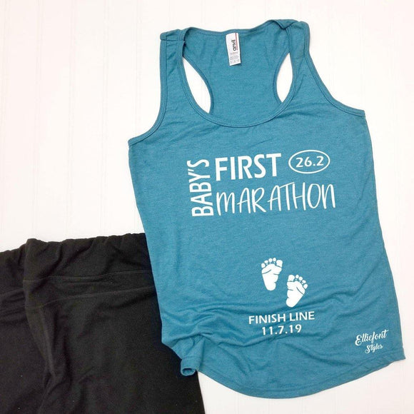 Baby's First Marathon 26.2 / Pregnancy Announcement Shirt / Racerback Tank Top - Elliefont Styles