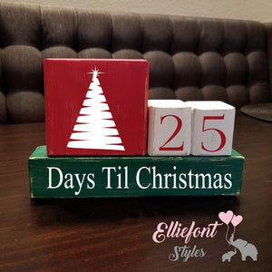 Days Till Christmas Countdown / Christmas Tree / Nativity Manger / Wooden Blocks / Stacker Set / Christmas Countdown - Elliefont Styles