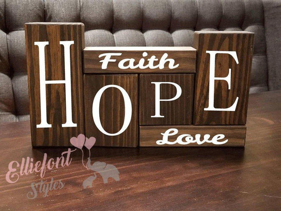 Faith Hope Love | Stacker Wooden Block Set | Wood Shelf Blocks | Solid Wood | Unique Gift Ideas | Spiritual | Christmas Gifts - Elliefont Styles