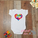 Heart Mom Squared Infant One Piece / Proud baby / 2 Moms / LGBT Gay / Baby shower gift / Newborn Romper / Two Moms - Elliefont Styles