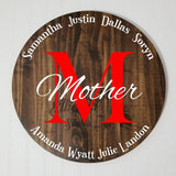 "Mother Monogram Kids Names 17"" Round Wooden Hanging Sign 