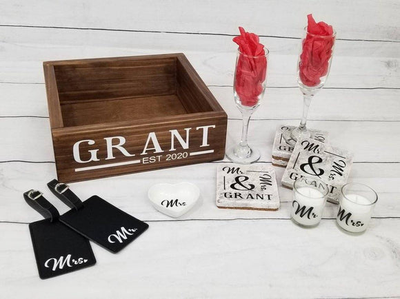 Personalized Wedding Gift Set Box | Bridal Shower Engagement Gift Set - Elliefont Styles