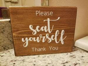 Please Seat Yourself | Wooden Shelf Sign | Unique Gift Ideas | Wood Block Sign | Bathroom Wood Sign | Bathroom Humor - Elliefont Styles