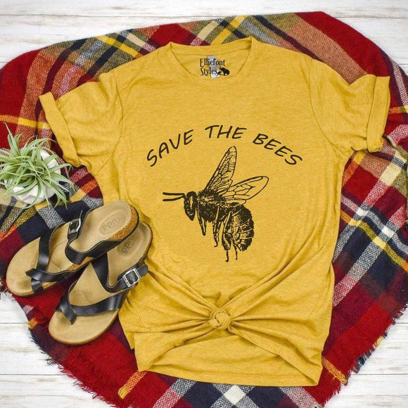 Save The Bees Shirt |Protect Our Planet | Bumble Bee | Honey Bee | Unisex Graphic Tee | Environmental Shirts - Elliefont Styles