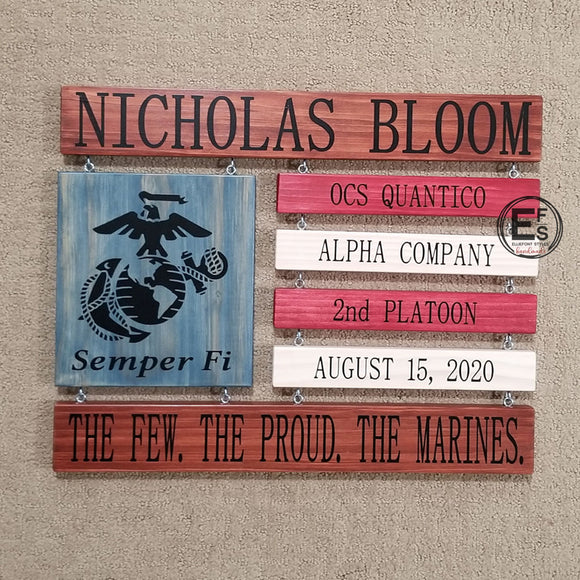 US Marine Corps Boot Camp Graduation Wood Sign US Marines Sign Semper Fi ©