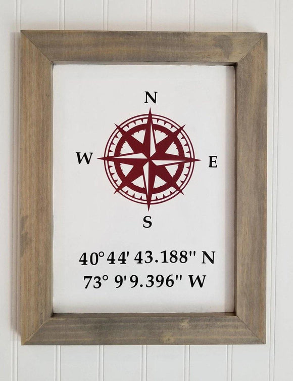 Wood Frame Compass GPS Coordinates Wood Sign | Rustic Home Decor