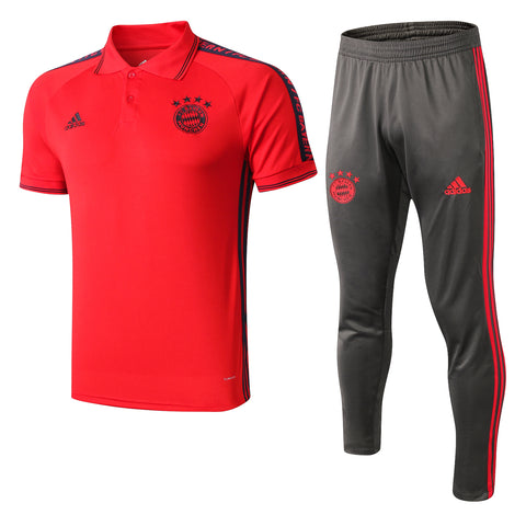 Bayern Munich 19/20 red polo shirt & gray long pants