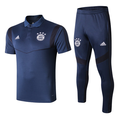 Bayern Munich 19/20 blue polo shirt & blue long pants