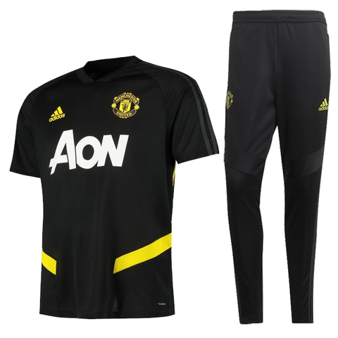 Manchester United 19/20 black polo shirt & black pants