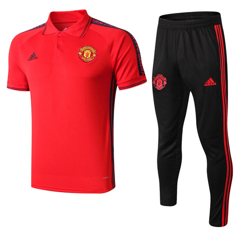 Manchester United 19/20 red polo shirt & black pants