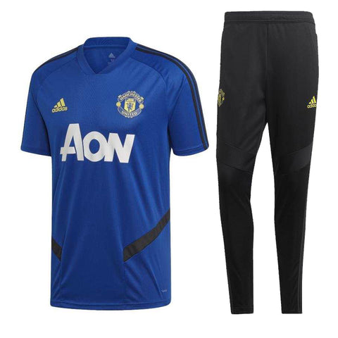 Manchester United 19/20 blue polo shirt & black pants