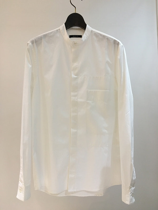 QASIMI / GRANDAD COLLAR SHIRT / WHITE