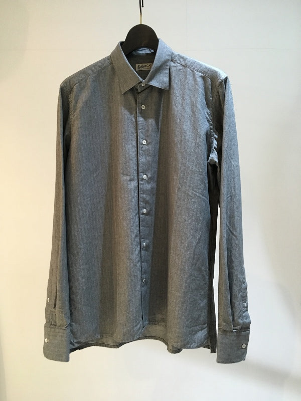 BEVILACQUA / REGULLAR COLLAR SHIRT /GREY HERRINGBONE