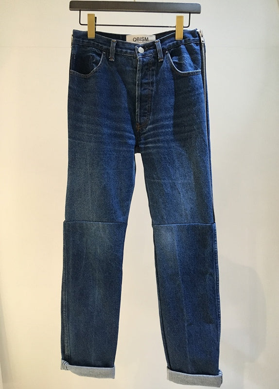 QBISM / SIDE ZIP REMAKE DENIM PANTS / VINTAGE BLUE