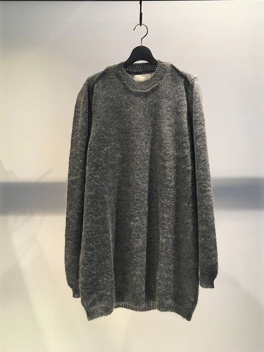 MARC POINT / RAW EDGE LONG CREW NECK KNIT / GREY