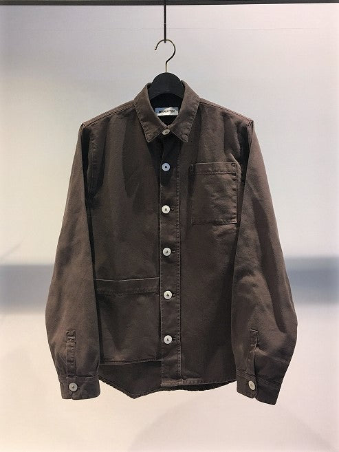 MUNDAKA STUDIO / ASYMMETRICAL SHIRT / FADE-BROWN