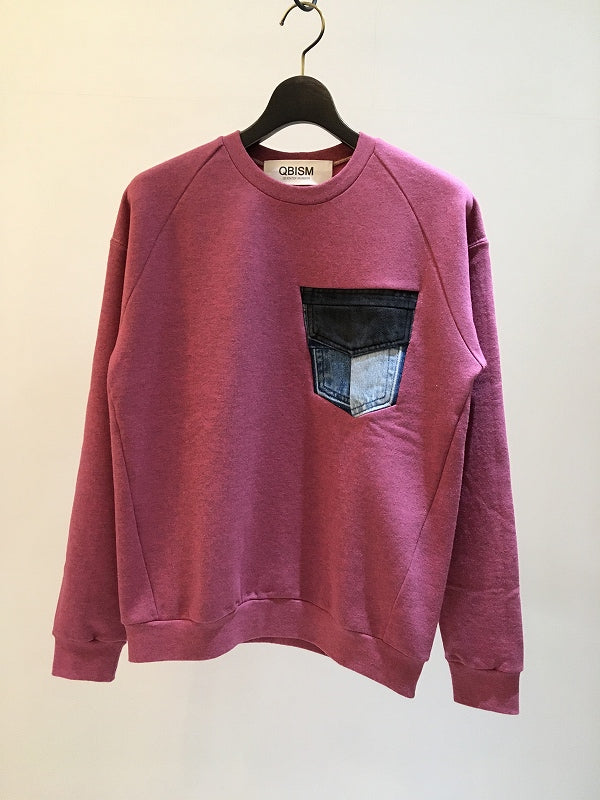 QBISM / VINTAGE POCKT 3D SWEAT / PINK