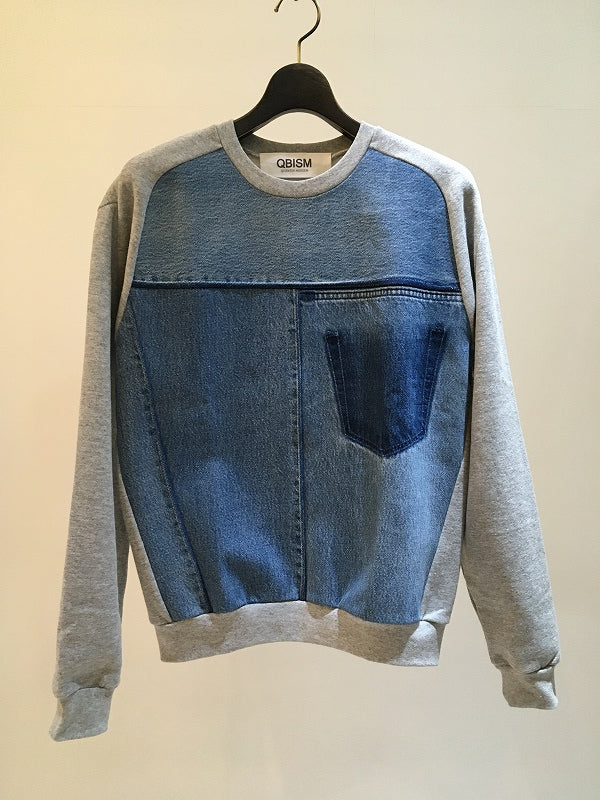 QBISM / REMAKE FRONT DENIM SWEAT / GREY