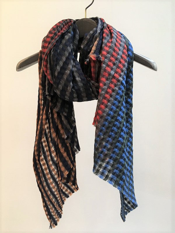 TRAITS / BOULLARD WOOL SILK STOLE / RED-BLUE