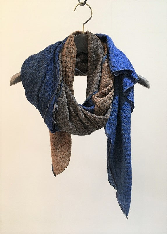TRAITS / NEIGE WOOL-MODAL STOLE / BLUE-ORANGE