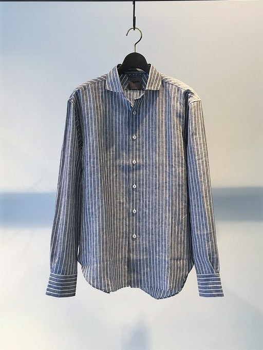 BIRO / STRIPE LINEN SHIRT / BLACK