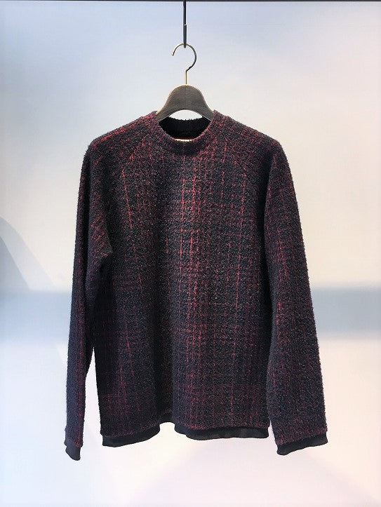 CORELATE / JACQUARD CHECK RAGLAN SWEAT / BLUE-ROSSO