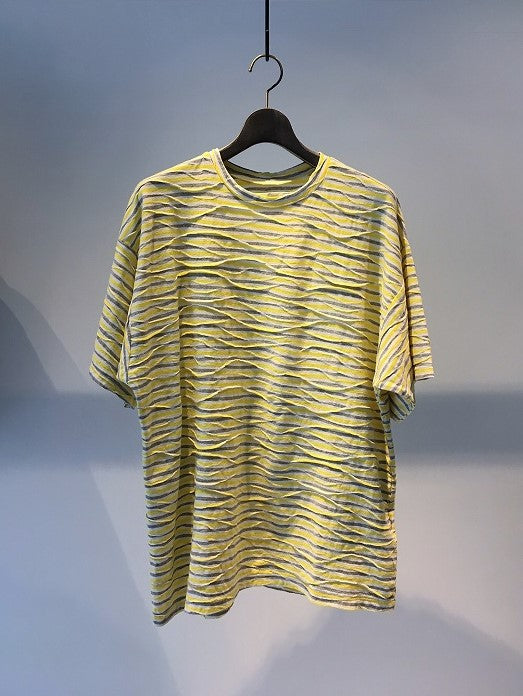 CORELATE / OVER FIT T-SHIRT / RANDOM YELLOW STRIPE