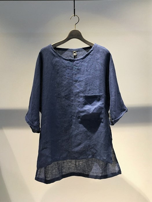 ANTONIO TUO / LINEN T-SHIRT / BLUE