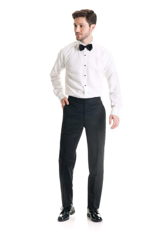 Black Modern Cut Wool Blend - Tuxedo Pant