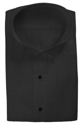 Black Pleated Wingtip Tuxedo Shirt