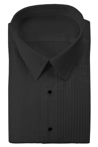 Black Pleated Windsor Tuxedo Shirt
