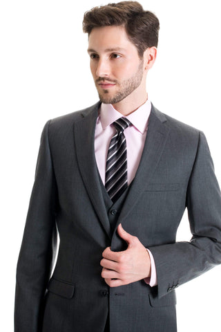 Slim Fit Wool Blend Jacket - Dark Grey