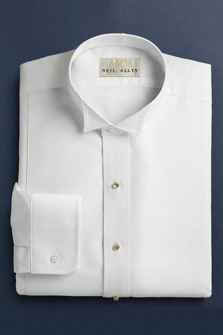 White Non-Pleated Wingtip Tuxedo Shirt