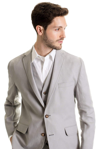 Slim Fit Linen Jacket - Light Grey