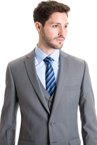 Slim Fit Wool Blend Jacket - Light Grey