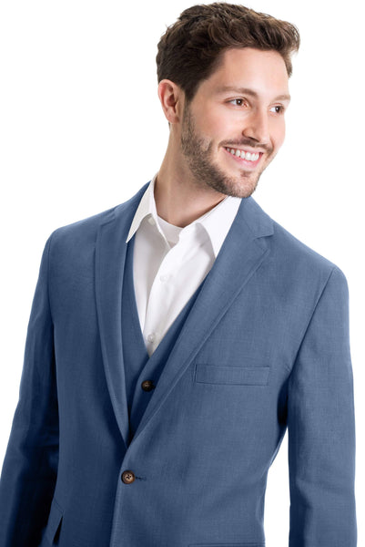 Slim Fit Wool Blend Jacket - Indigo