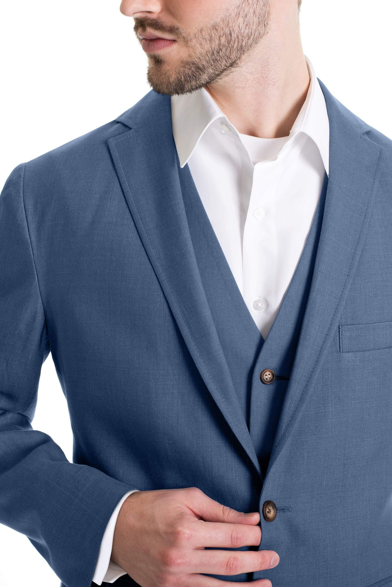 Slim Fit Linen Jacket - Light Indigo