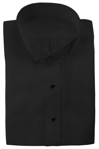 Black Non-Pleated Wingtip Tuxedo Shirt