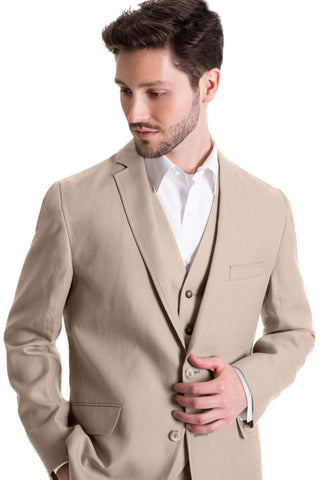 Slim Fit Linen Jacket - Tan