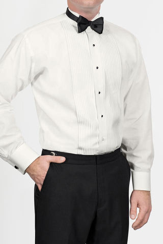 Ivory Pleated Wingtip Tuxedo Shirt
