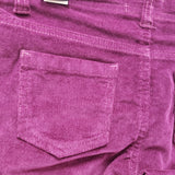 Girl's skinny purple corduroy pant with sequin stars