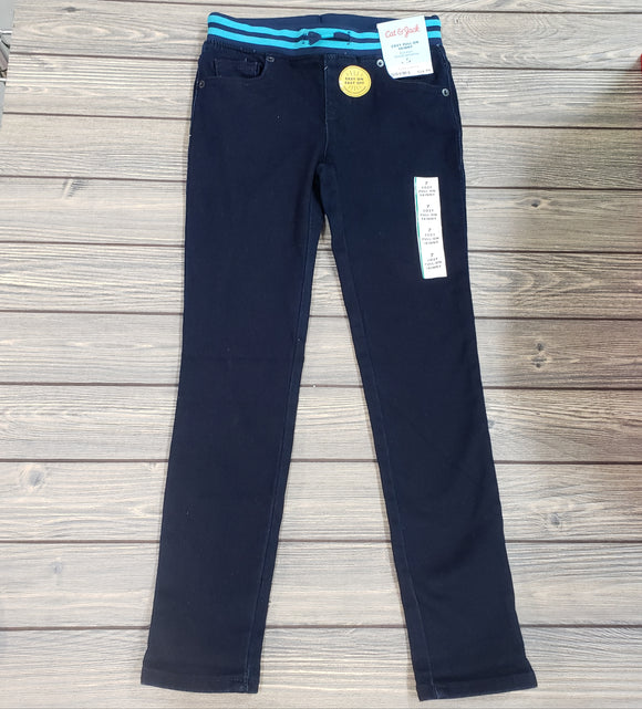 Girls Cat & Jack navy skinny jean with light blue elastic waistband