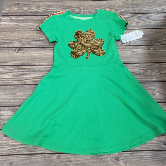 Girls green flip sequins clover dress