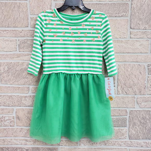 Girls new Cat n Jack green striped hearts and clover dress