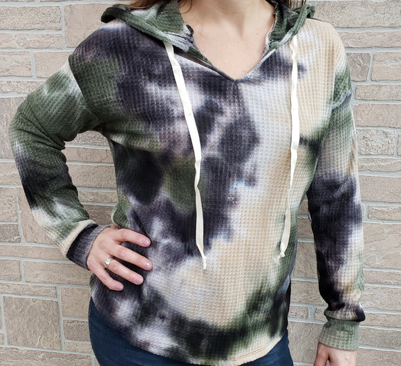 White Birch brand camo tie dye top