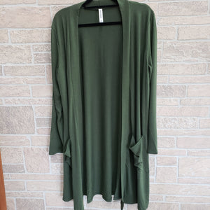 Zenana pocketed shrug plus size