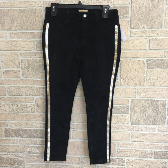 Girl's skinny black stretch corduroy pant with sequin stripes
