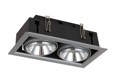 Downlight Doble Empotrable Led Orientable 3000K 40w Plata